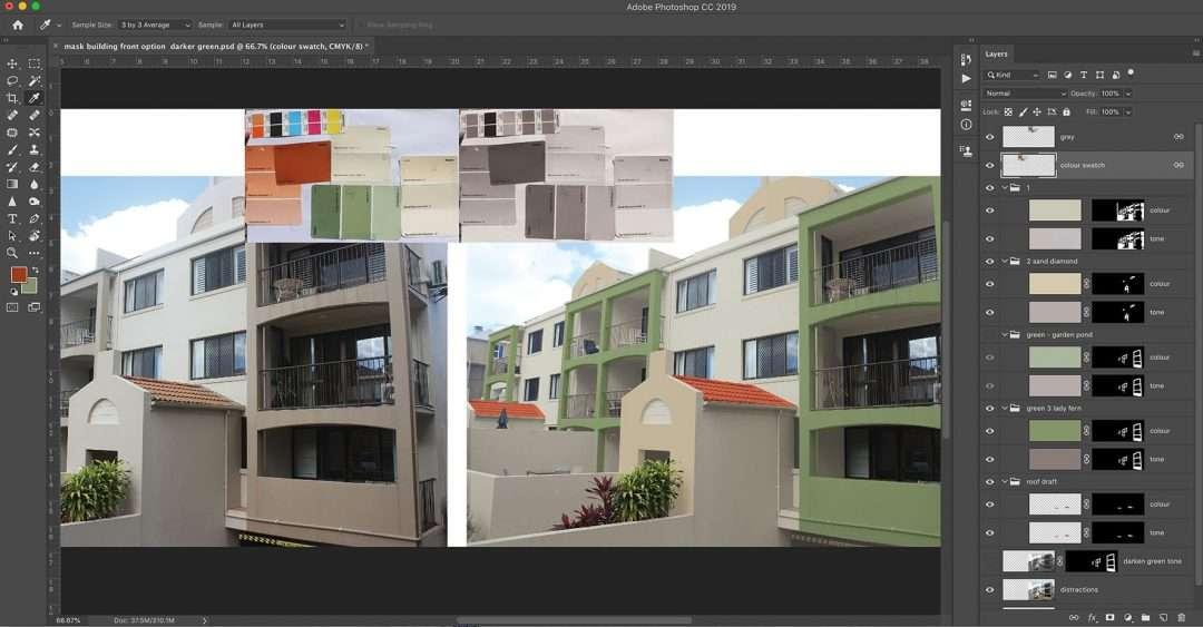 Photoshop Sunshine Coast - Paint selection on building
